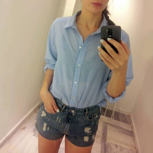 #denim #shorts & boyfriend #shirt!