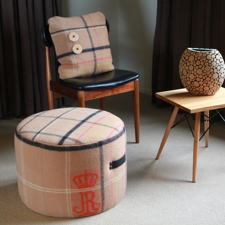 Vintage Wool Blanket Ottoman And Cushion From flaunt.com.au