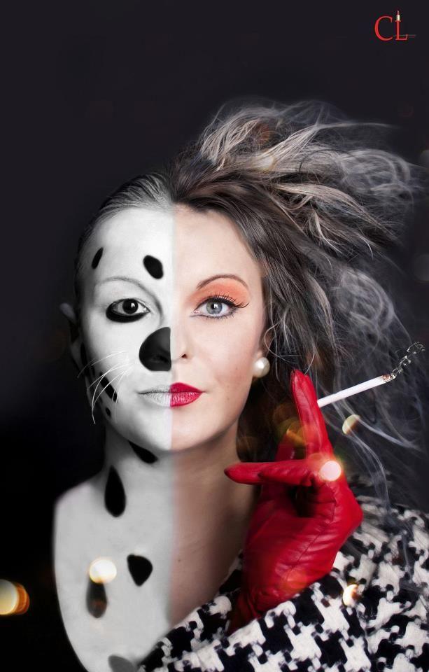 maquillage disney  les 101 dalmatiens  grimages pour enfants avec prothèses en latex du nez et de la mousse de latex pour le menton moustache avec du fil de pêche