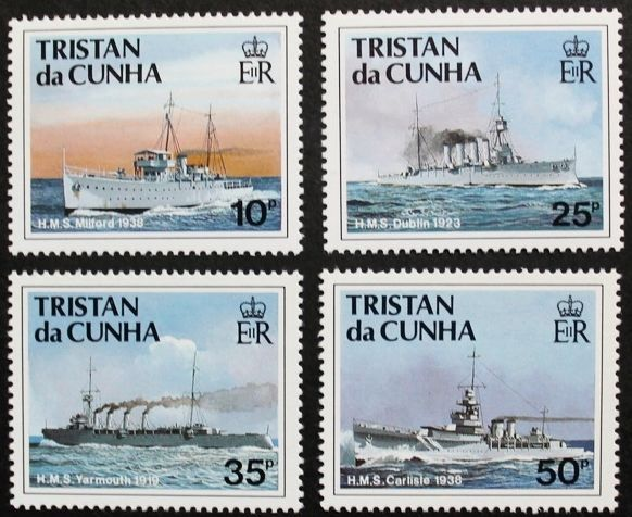 Ships of the Royal Navy, 2nd series stamps, 1991, Tristan da Cunha, Ref: 509-512