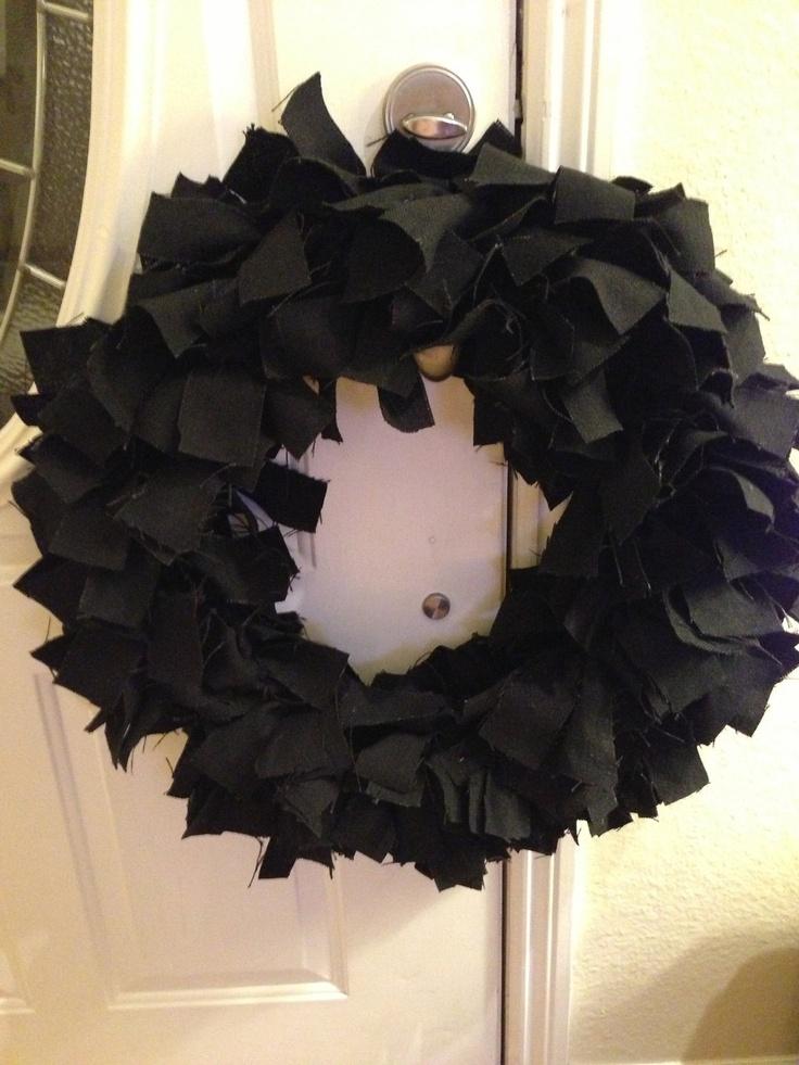 Black Linen 18 Rag Wreath by PurrtyNeatStuff on Etsy, $59.95