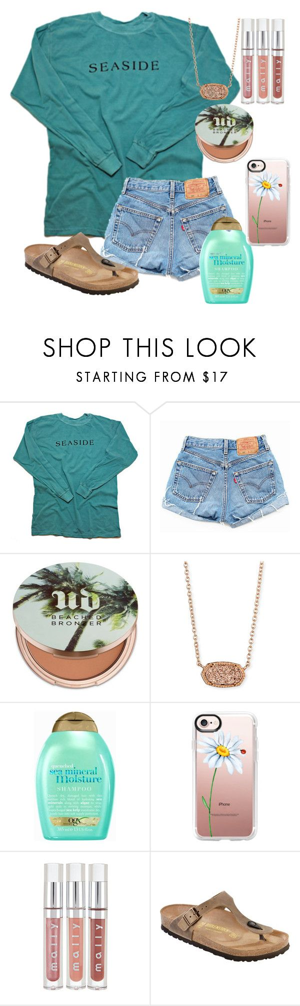 """"""""""" by exobeckb ❤ liked on Polyvore featuring Levi's, Urban Decay, Kendra Scott, Organix, Casetify and Birkenstock"""
