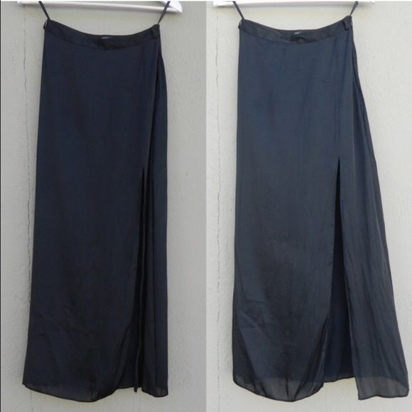 RIVER ISLAND black maxi skirt A black maxi skirt with a side slit by River Island, a clothing label carried by ASOS. Black semi-sheer, thin silky material. Unlined. UK 6 = US 2.  NO TRADES ✅20% off bundles ✅ask me for reduced shipping ASOS Skirts Maxi