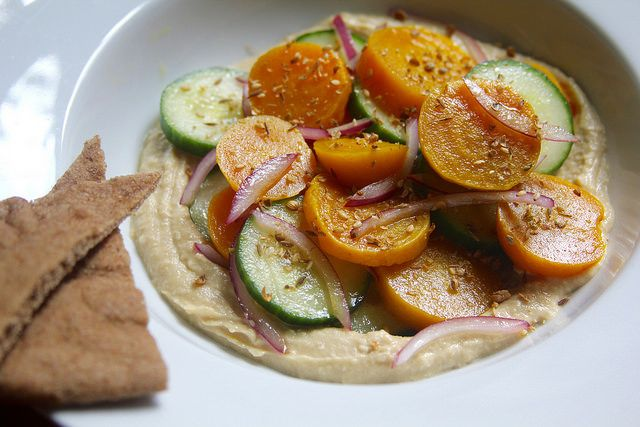 Golden Beet and Cucumber Salad with Toasted Spices, Hummus and Pita | Not Eating Out in New York