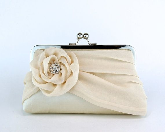 EllenVintage Silk Clutch In Champagne,  Bridal clutch, Wedding clutch, Wedding purse, Bridesmaid clutch $78.00