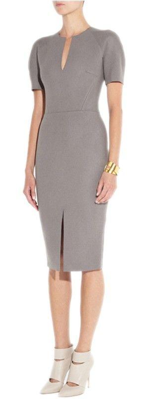 Charming Woolen Short Puff Sleeve Half-Open Collar Grey Women Slim Hip Step Dress