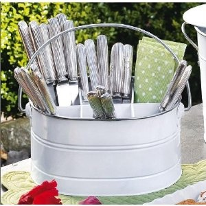 """Get Organized ! Easy-carry Green Metal Utensil Caddy The perfect accessory for those that love to entertain. This utensil caddy contains 6 compartments for holding flatware, napkins, utensils, or anything you or your guests need. With this caddy, your flatware stays organized and clean. Features a carrying handle for easy transportation. Take this caddy to a barbeque or even to the beach. Measures 6"""" H x 9.5"""" W x 6.5"""" D Made of metal with a glossy enameled finish $17"""