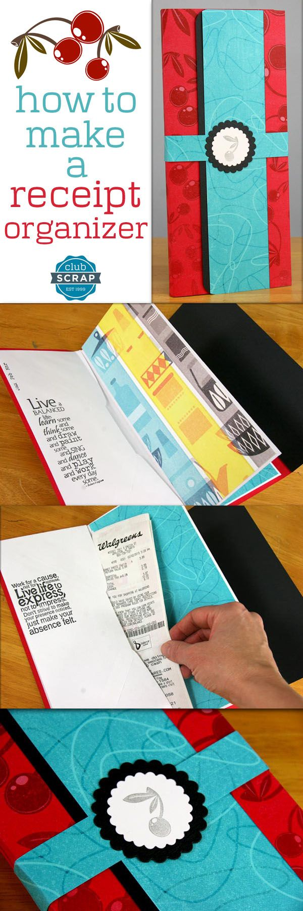 Receipt Organizer | Club Scrap -- Ten simple steps using envelopes and cardstock to help you get organized. Click to find out how to easily create your own!