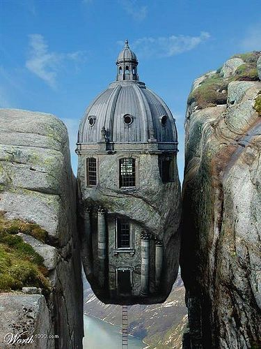 I don't believe this either. Double sigh. Actually looks like Kjeragbolten in Norway that has a rock in its place.