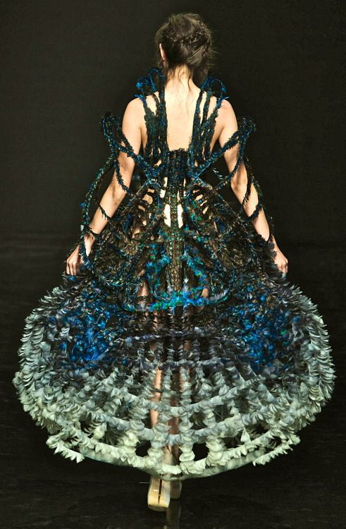 Cage Dress - sculptural fashion with elaborate 3D cage-like structure and amazing use of colour & texture; fashion as art // Yiqing Yin Haute Couture