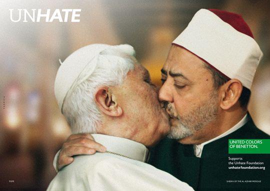 Italian brand Benetton's UNHATE campaign featuring Pope Benedict XVI kissing a senior Egyptian imam #Vatican #politics #Catholicism #Islam