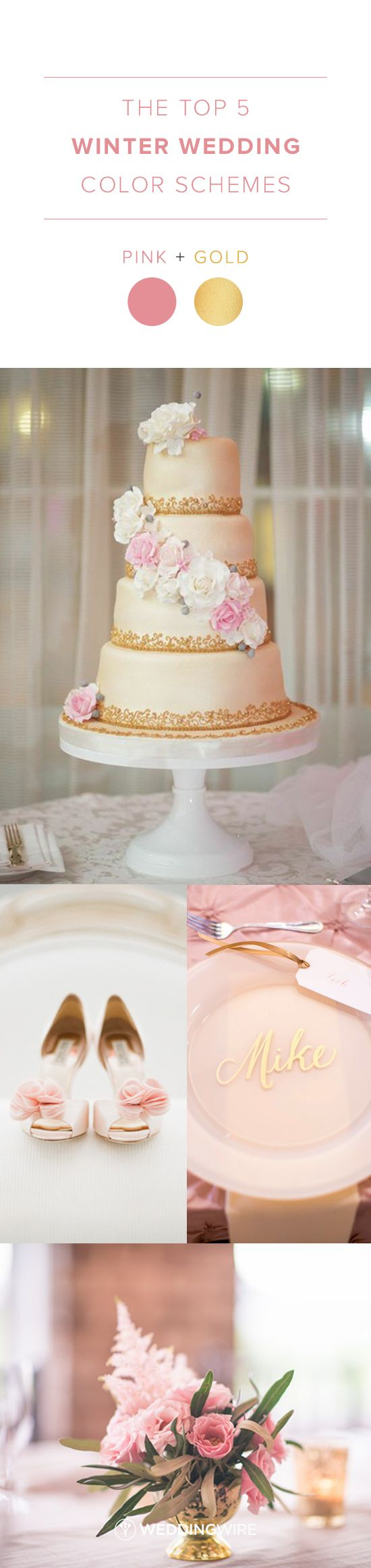 The Top 5 Winter Wedding Color Schemes: Pink and Gold Winter Wedding Color Palette