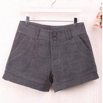Pantalones cortos de la vendimia mediados de cintura que adelgaza color sólido diseño del bolsillo de la Mujer