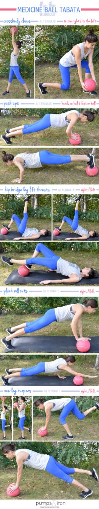 You'll need a medicine ball for these workouts. I use a 6-lb ball for these med ball workouts, but you should adjust the weight depending on your fitness level. Click an image to see full tut…