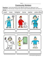 community worksheet, jobs worksheet, careers worksheet, community helpers worksheet