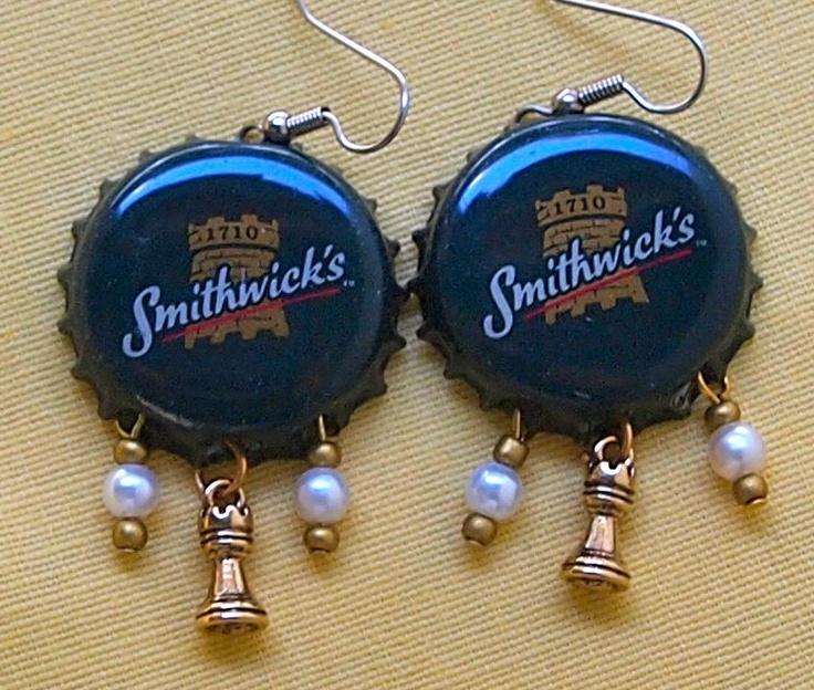 Chess Earrings, Bottle Cap Earrings, Castle, Rook, Green, Upcycled, Smithwick, Beer. $25.00, via Etsy.