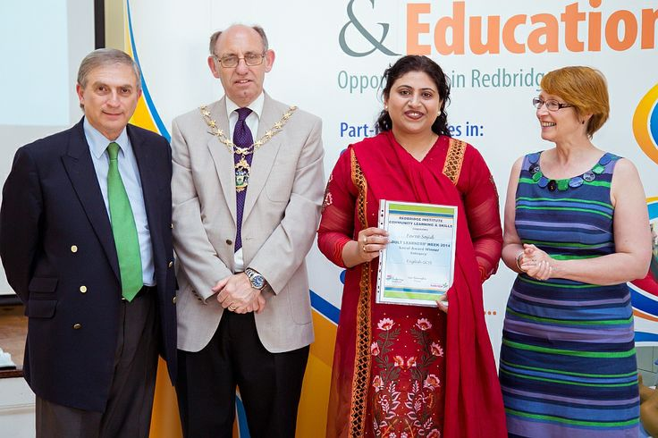 Lauraine Everitt, tutor, with her learner Faree Sajid, and her award for English