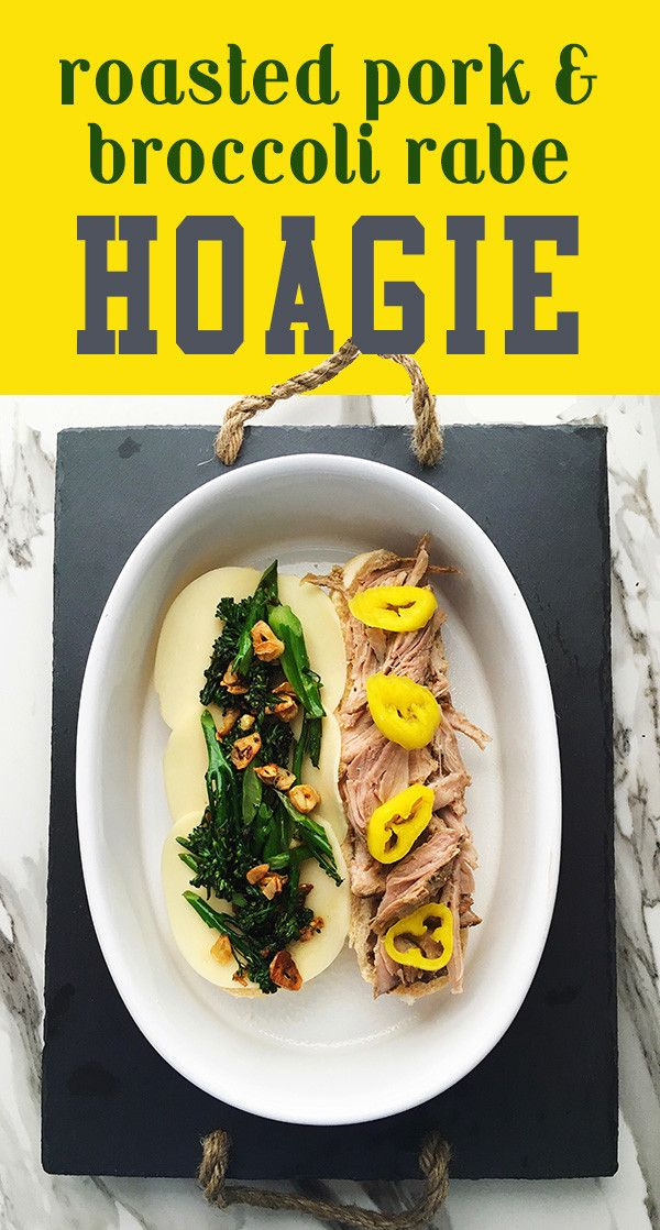 roasted pork broccoli rabe sandwich recipe inspired by Dinic's sandwich shop in Philly's reading terminal market.