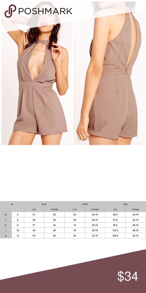 🆕 Taupe Choker Playsuit UK size 8, US size 4/xs. Please reference size chart above.   This item may or may not include a tag. ALL items sold from my closet are EITHER brand new, unused and directly from the manufacturer. Missguided Tops