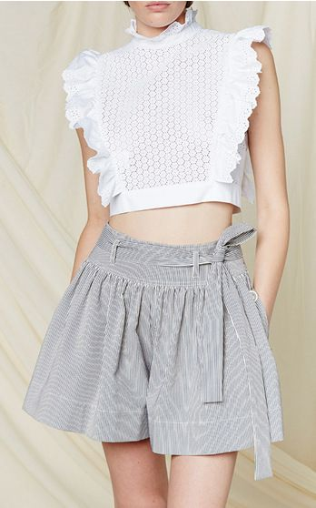 white embroidered cropped blouse by Philosophy di Lorenzo Serafini for Resort 2016. Available at Moda Operandi!