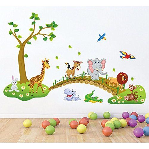 Lovely Wandtattoo F rs Kinderzimmer Baby Sticker Aufklebr Tiere Safari SDB M