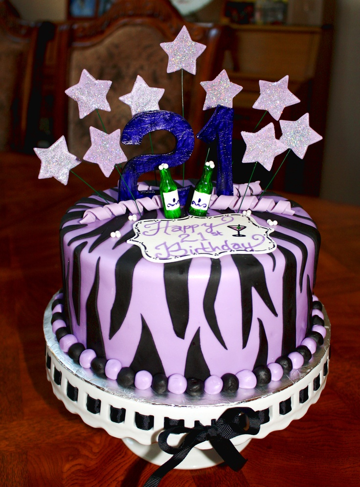 Purple And Black Zebra Striped 21st Birthday Cake Cakes