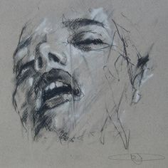 Guy Dennig / 'What it all boils down to'  conte and chalk on paper  21 x 21 cm
