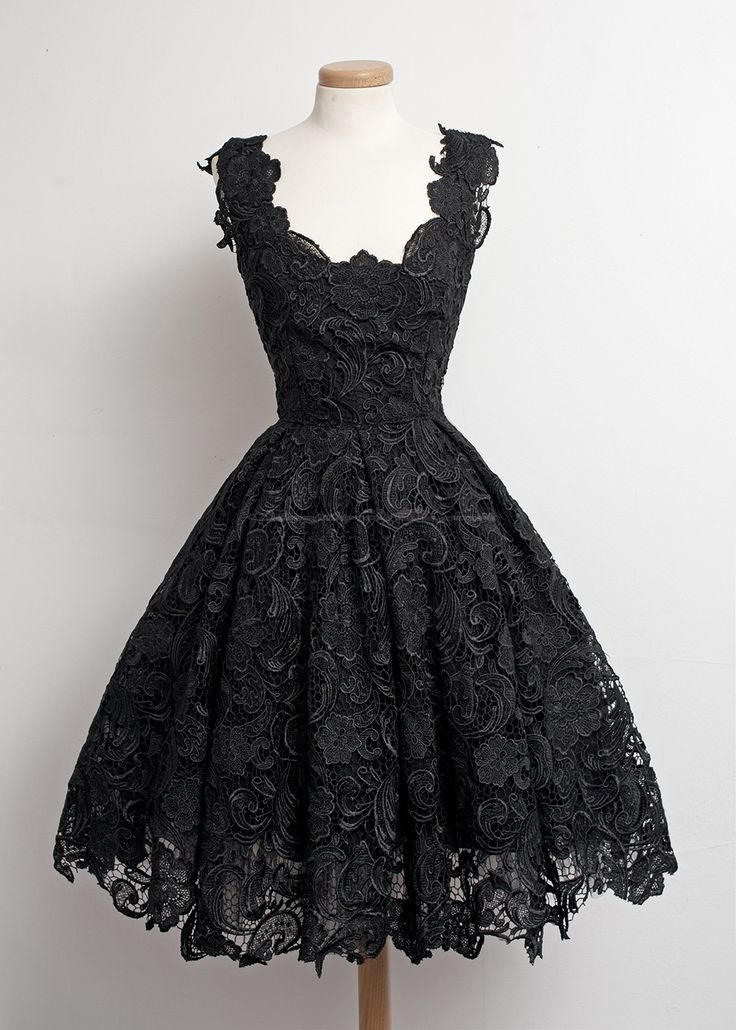 1950s Vintage Little Black Lace Dress.