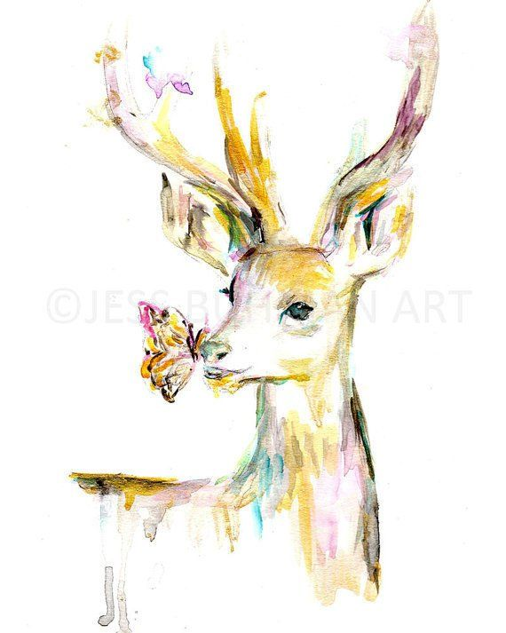 WILD DEER ART PRINT POSTER Animals Decor Horns Fawn Drawing Wall Illustration
