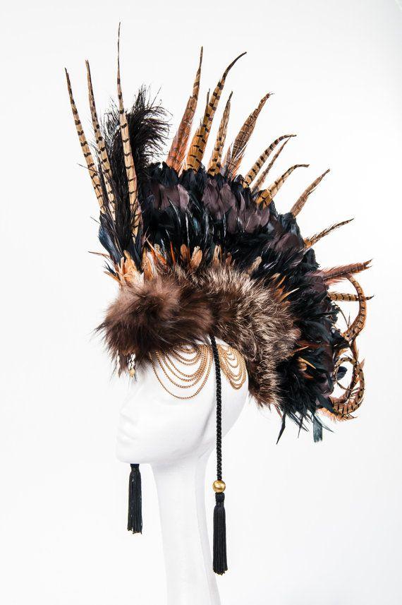 Headpiece feather headdress brown feather headdress von VagabondUK