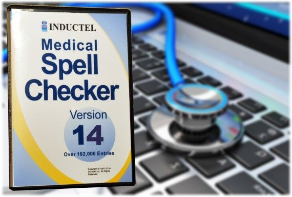 Inductel Medical Spell Checker custom dictionary software. It's perfect for medical transcription. Teams up with your regular spell checker. Has more than 182,000 medical and drug terms. Works with OpenOffice, iWork, and Microsoft Office.
