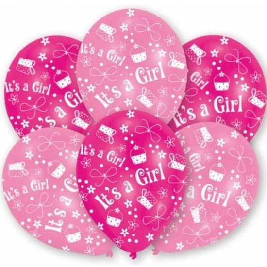 Roze babyshower of geboorte ballonnen met cupcake, cadeau en strik motiefjes en de opdruk It's a girl. U kunt de ballonnen vullen met helium of lucht. Op te blazen formaat: 27,5 cm. Inhoud per zakje: 6 stuks.