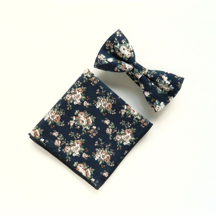 Men's floral navy blue bow tie floral pocket square Pre-tied bow tie gift for men Groomsmen wedding navy blue floral bow tie by TheStyleHubTrends on Etsy