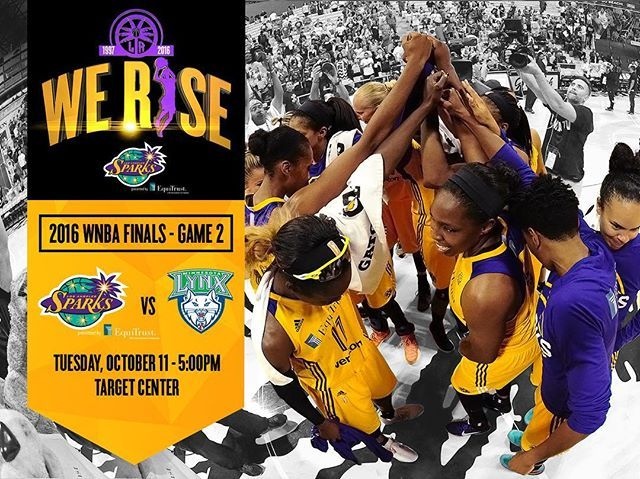 It's game day! Sparks vs Lynx tonight on ESPN2 in Minnesota for Game 2 of the WNBA Finals. Sparks lead the series 1-0 and will return for Game 3 Fri., Oct. 14 at Galen Center – USC tickets at lasparks.com or call 844.GO.SPARKS. #WeRise #ComeWatchUsWork #GoSparks