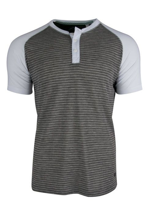 STRIPED HENLEY TEE IN CHARCOAL