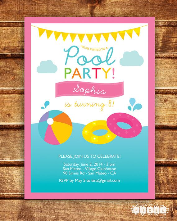 Pool Party Birthday Girl Invitation / Kids Pool by thespottedpixel, $14.99