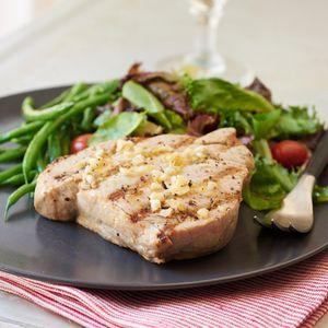 Grilled Yellowfin Tuna with Lemon and Garlic | MyRecipes.com