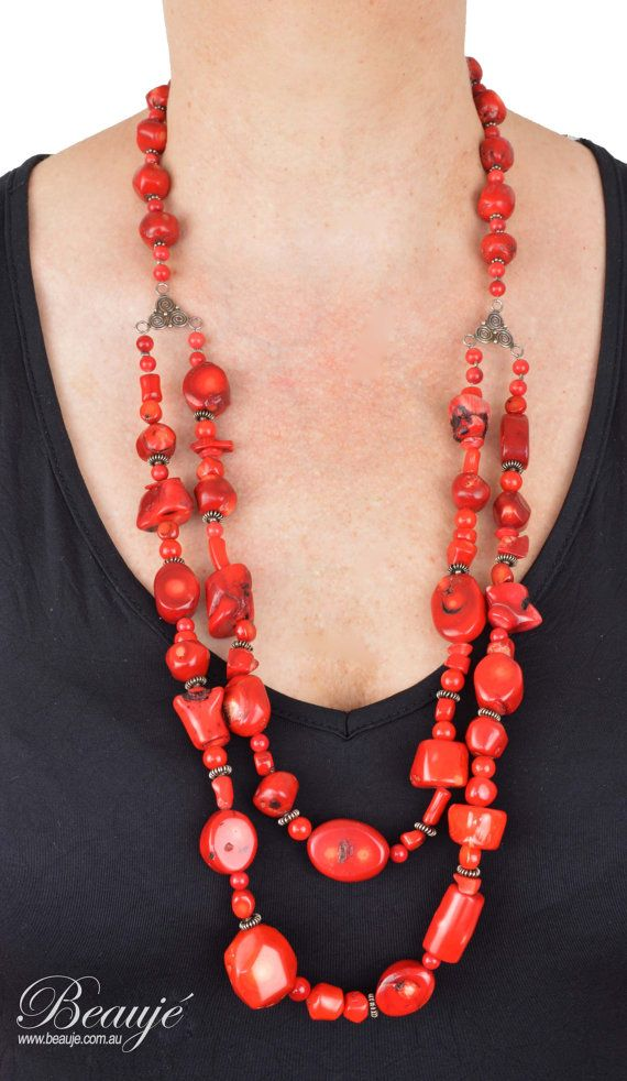 Red necklace Red coral Gemstone jewellery by BeaujeJewellery