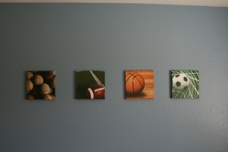 Sports themed boys bedroom. Pinewood with scrapbook paper decoupaged. Baseball, football, basketball, soccer.