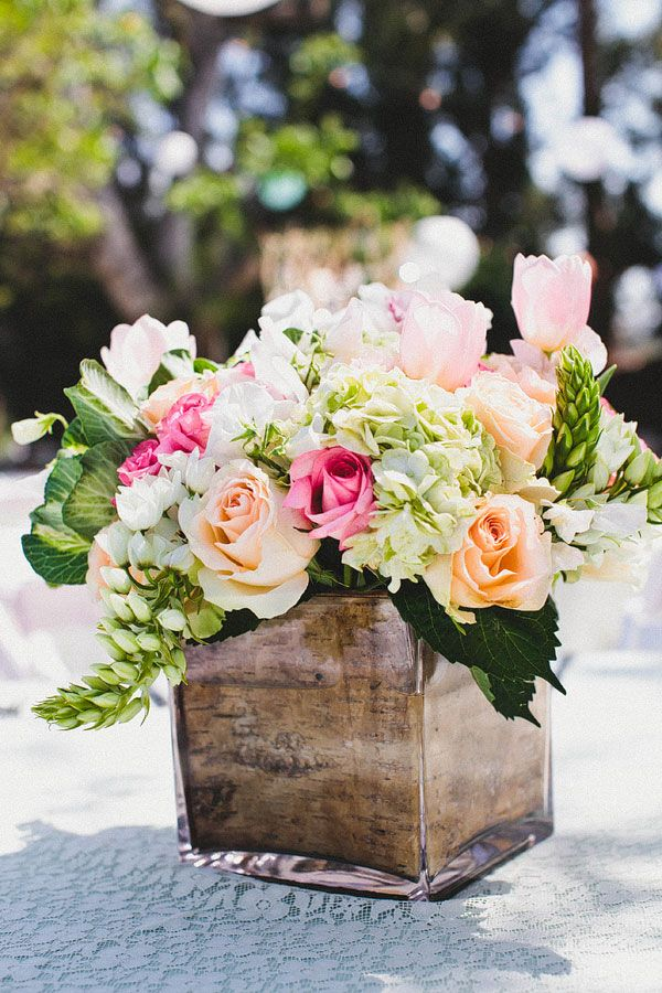 centerpieces: love the greenery, texture, shape, and colors used in this arrangement, but would add a few pops of bright pink