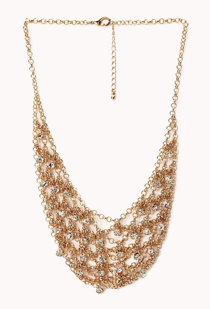 Collier Plastron Élégant Orné de Faux Diamants - accessoires, bijoux et sacs pour Femmes| voir en ligne | Forever 21 - Bijoux - Colliers - 1000088674 - Forever 21 EU
