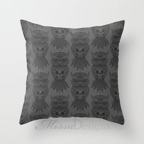 'Sugar Skull Hootle' cushion cover design Colourway: Charcoal owl. Design by Missa Designs. Copyright 2013