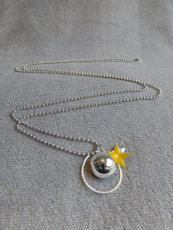 Bola de grossesse lisse argenté, sequin étoile émaillé jaune, en collier ou sautoir