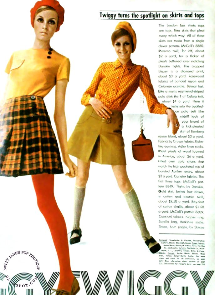 Plaid pleats of wool loomed in America, about $6 a yard, kilted over gold shorts that match the high-pocketed top of bonded Acrilan jersey, ...