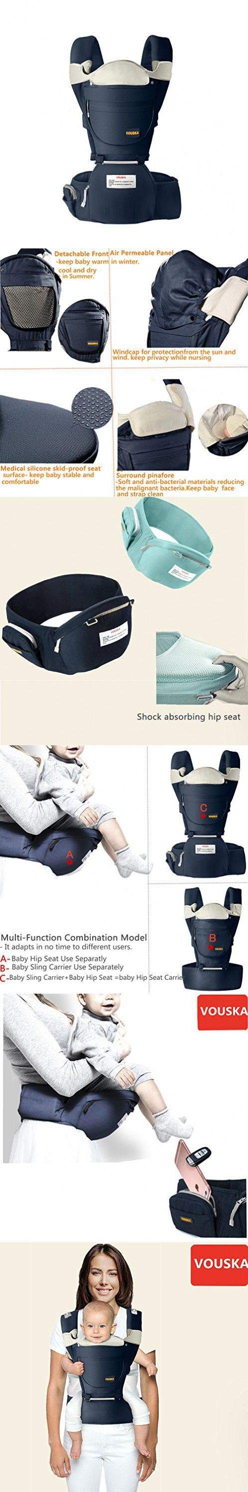 Baby Carrier,Baby Carriers Front and Back -The COMPLETE All Seasons 360 Ergonomic Baby & Child Carrier with Baby Hip Seat,8 in 1,Newborn to Toddler,2017 New Style By VOUSKA