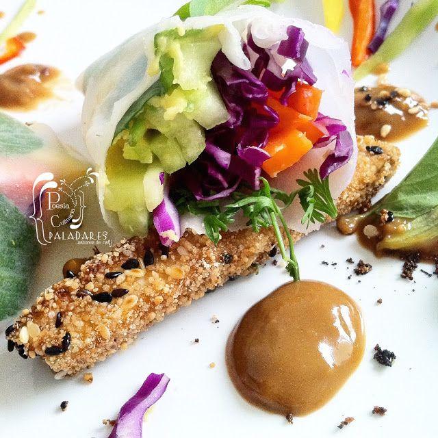 rollos primavera, Spring rolls, Vietnam, Gỏi cuốn, salsa, salsa de maní, cacahuete, tofu, Vietnamese cuisine, Cocina vietnamita,