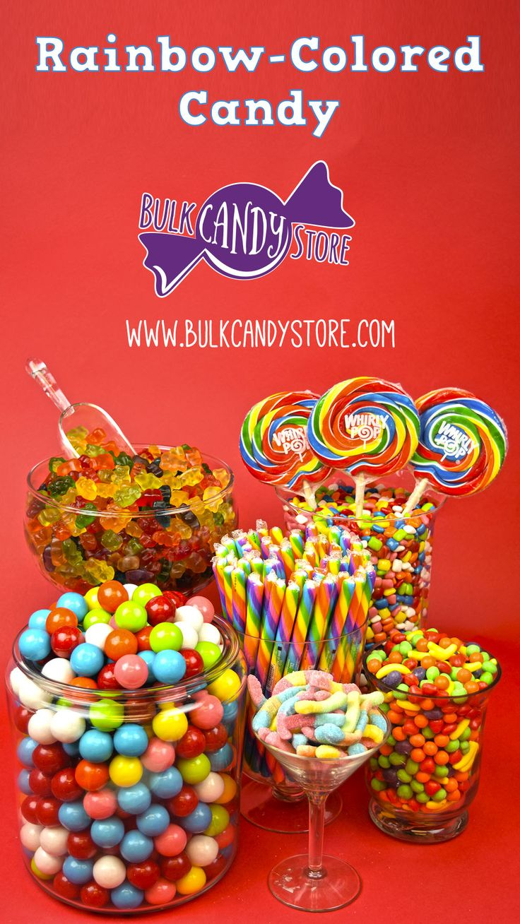 Go to BulkCandyStore.com to get your candy in BULK assorted colors to create a Rainbow-themed candy table!