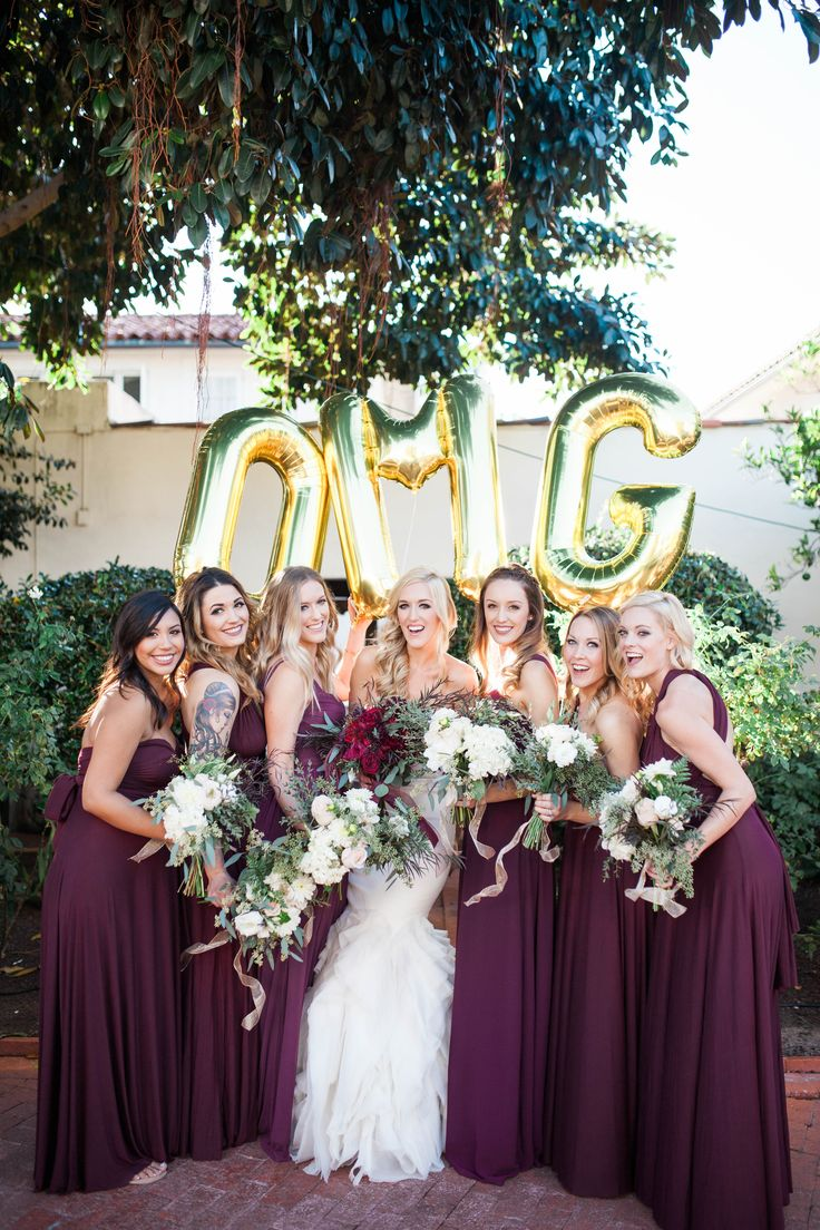 Darlington House winter garden wedding with shades of marsala, berry & burgundy. The bridesmaids :)