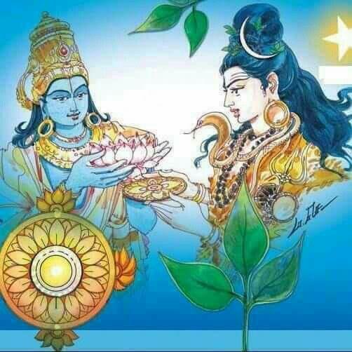 Vishnu Praying to Lord Shiva Shiva Giving Chakra Vishnu