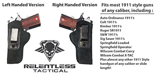 The Ultimate Suede Leather IWB Holster Left Handed – Made in USA – Fits 1911 Style Handguns – Kimber – Colt – S & W – Sig Sauer – Remington – Ruger & More